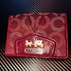 Small red coach wallet